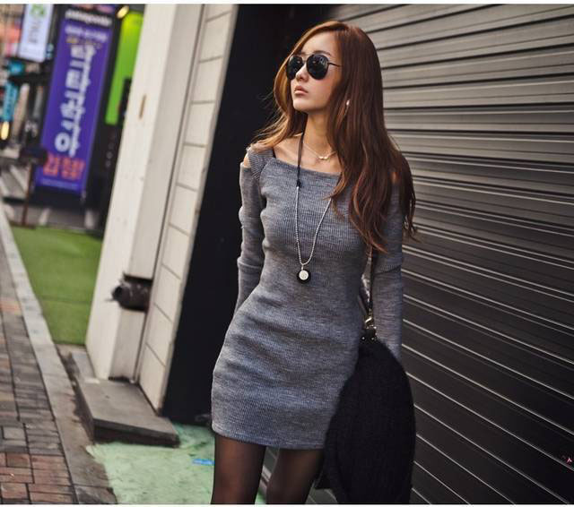 Collar Women Long Sleeve Bodycon Sweater Knitted Dress Female Pullover Autumn Winter Dresses