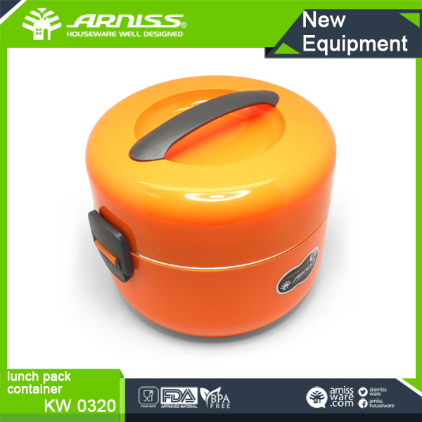 KW 0320 Arniss orange keep warm leak-proof plastic picnic insulated hot food boxes with 4 plates