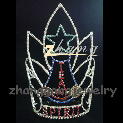 Fashion real diamond tall pageant crown tiara for sale