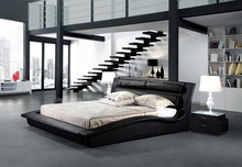 Wave leather bed king size black leather