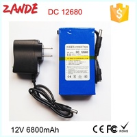 Super DC-12680 12V 6800mAh li-on polymer rechargeable lifepo4 battery pack for CCTV Camera