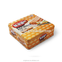 Square egg rolls tin box for packaging