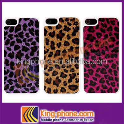 Leopard pattern hard case stick PU leather phone cover for iphone 5 case