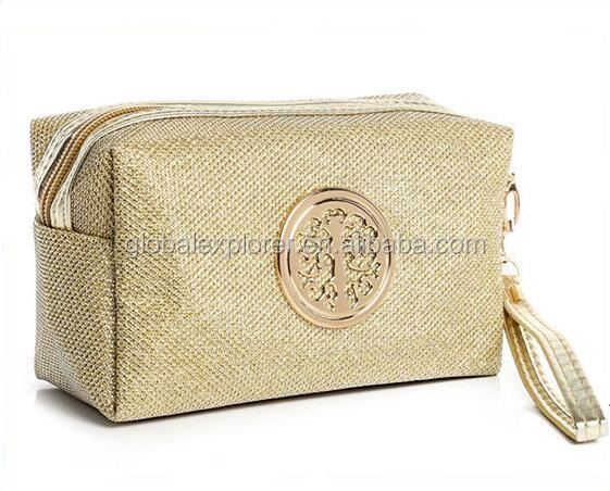 Fashion shining glittering rectangular makeup cosmetic bag with metal badge and handle