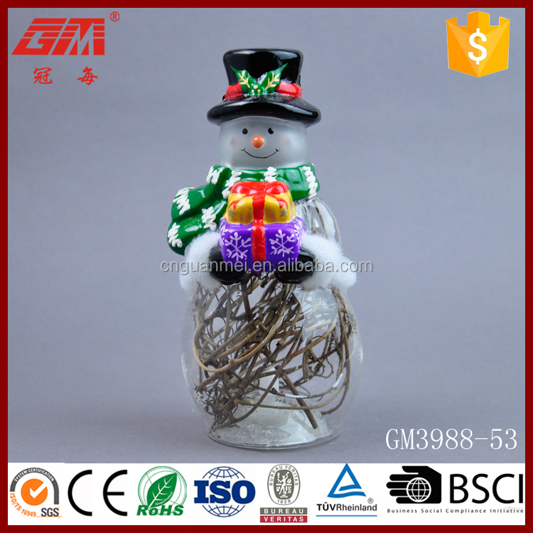 Lighted christmas snowman decoration with dry vine inside