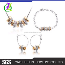 QS 1003 Yiwu Huilin Jewelry vintage style many circles simple jewelry western fashion enamel jewelry sets