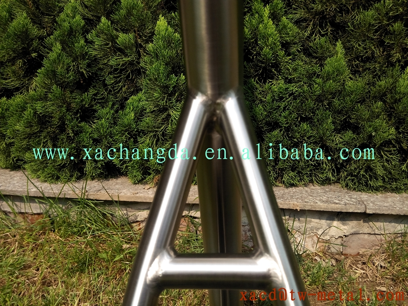 xacd made titanium MTB bike frame with handing brush finished