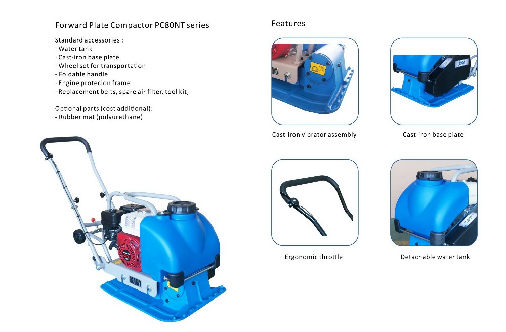 Plate Compactor with cast iron plate, vibrator (weight 90kgs)