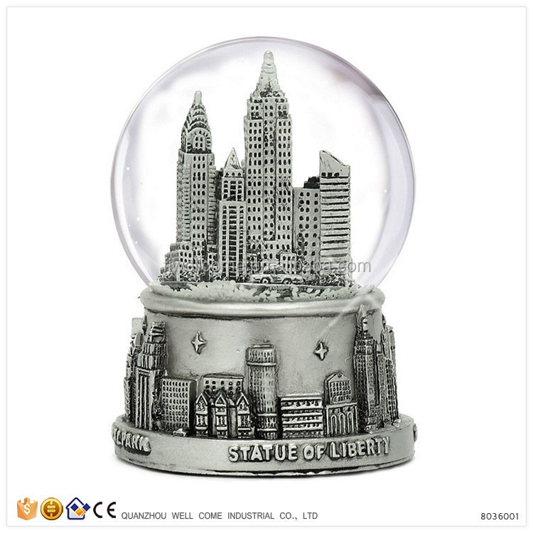 2016 New York City Silver Lined Custom Crystal Snow Globe Water Globe