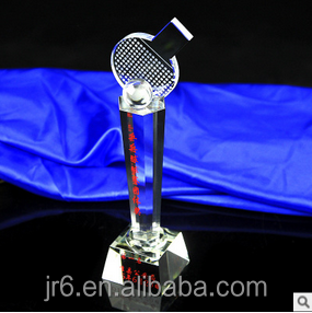 Crystal table tennis award trophy for souvenir gift