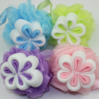 Cute baby mesh bath sponge flower shaped net bath puff
