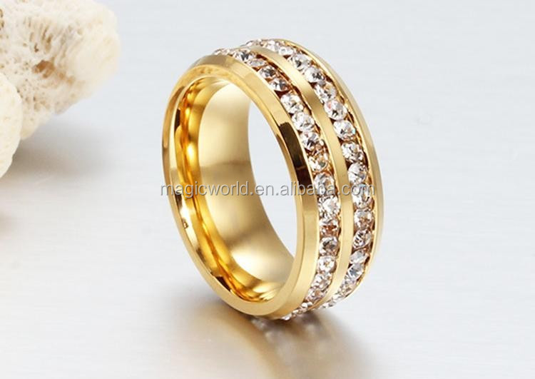 Best Selling Fashion Girls Jewelry 18K Titanium Steel 2 line Crystal Ring