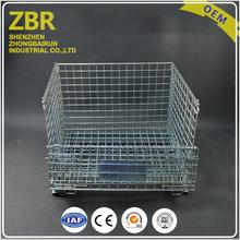 Large Collapsible Wire Mesh Box Container with Casters Stacking Metal Forklifts