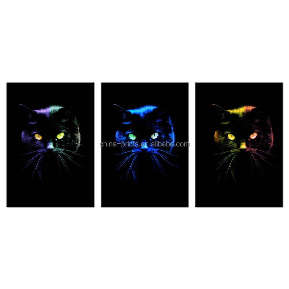 Abstract Photos of Kitty Giclee Print Wholesale Framed Lovely Cats Canvas Painting Decorative Pets Photos Canvas Prints 3 Panels