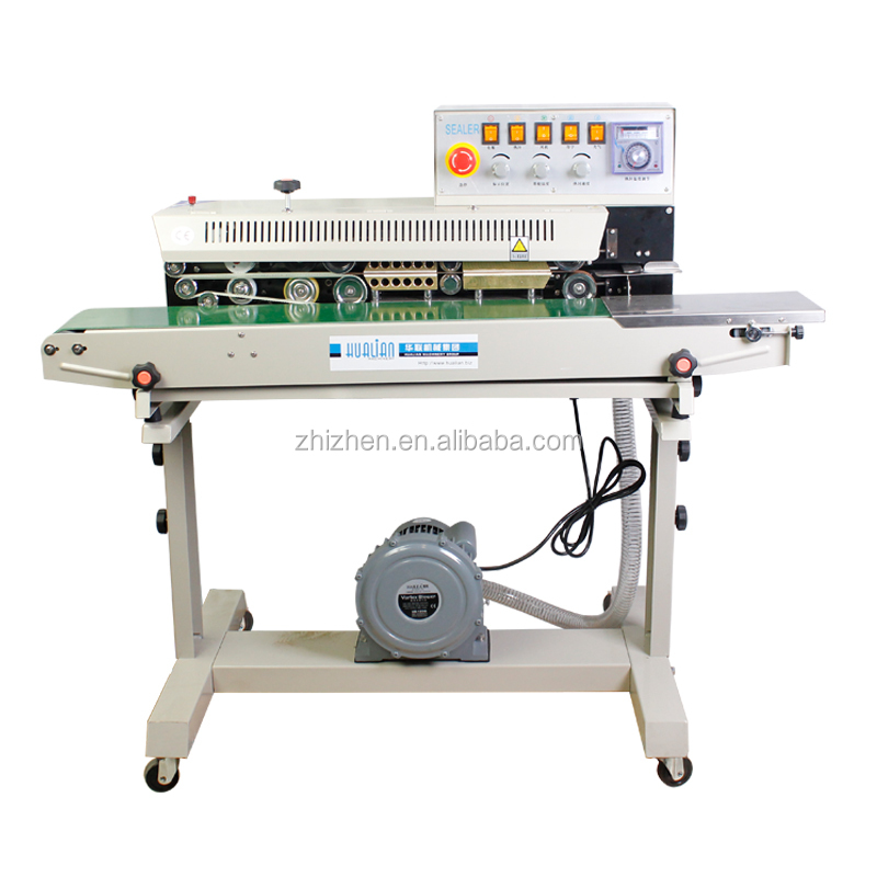 FRMQ-980III automatic solid ink wheel vertical date coding continuous band sealer with Nitrogen Gas Flushing & Filling