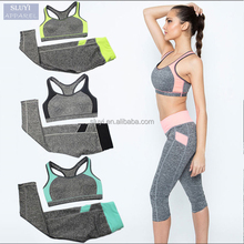 latest design tracksuit Women Fitness Patchwork Top not bra in And Elastic Legging Capris Pants Set Women wholesale running wear