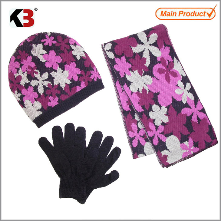 2015 Flower jacquard knitted hat scarf and black gloves/a set of kids plush glove/hat/scarf