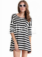 T-shirts Tops fashion women girl clothes Black and White Striped Batwing Long Sleeve T-shirt