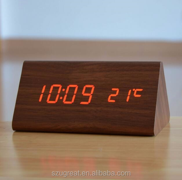 Hot sales table LED Triangle wood clock,wooden led alarm clock,led alarm clock with calendar
