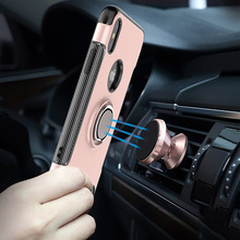 Fashion Cover For iPhone X Case with Metal for Car Mount Holder Magnet Adsorbing,360 rotation case for iPhone X Ring Stand Case