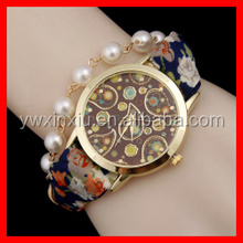 Handmade Fashion Pearl Watch with Fabric Band adjustable Size Hot Selling Women Watch Band