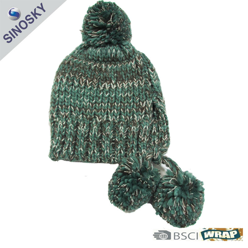winter 100% acrylic knitted boy pom pom beanie hat