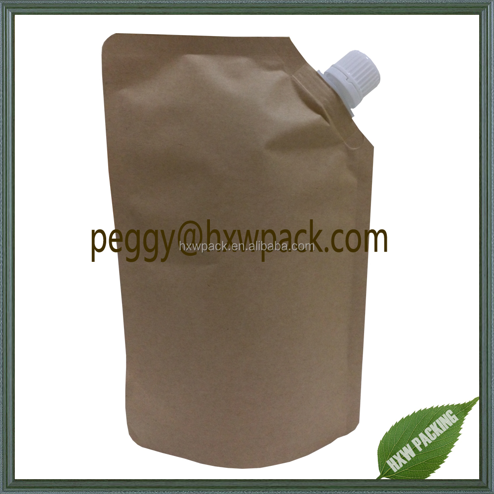 Stand up kraft paper pouch with side spout, moisture prood foil lined kraft paper spout pouch