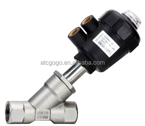 2 Way double acting plastic head pneumatic angle valve