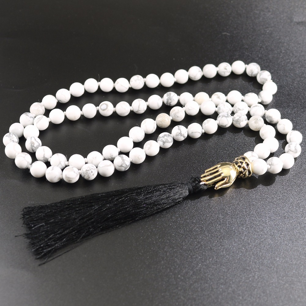 Men's Necklace Black Tassel Pendant Antique Gold Blessing Buddha Hand Manual Knotted Strand Howlite Stones Beaded Jewelry