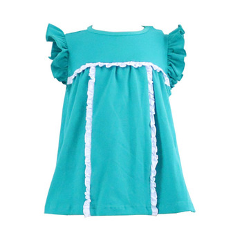 Wholesale summer new arrival flutter sleeve cotton small ruffle girls t shirts