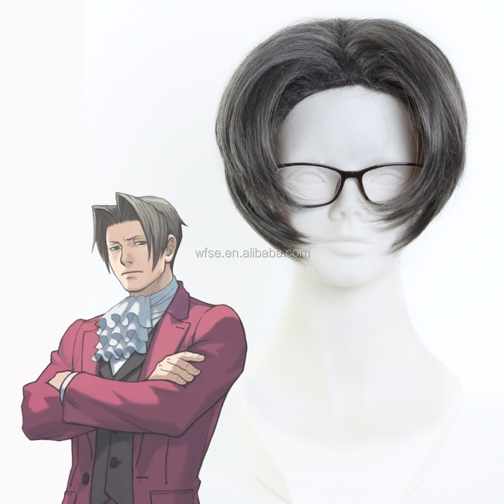HOT Selling! Miles Edgeworth High Quality Short Smoke Gray Full Lace Cosplay Wigs Anime Ace Attorney Gyakuten Saiban Hair Wig