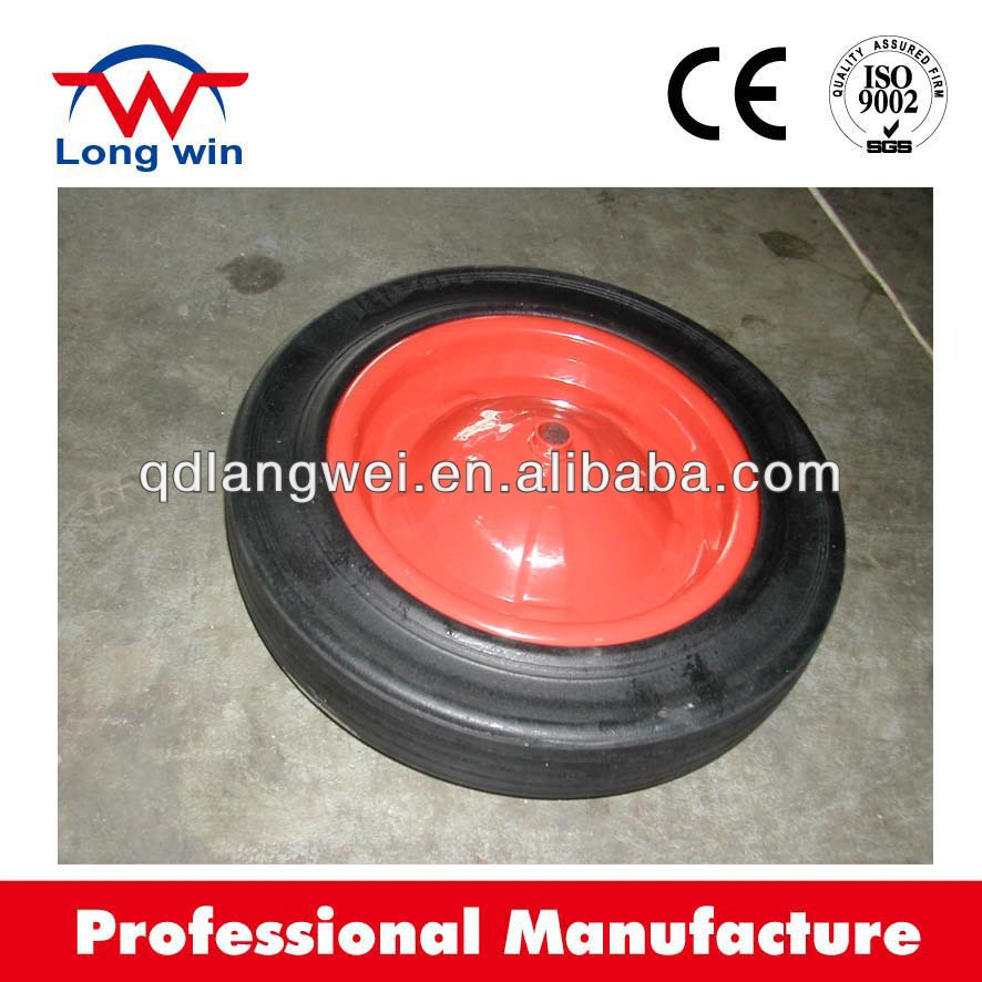 16 inch solid rubber wheelbarrow tyre made in china with solid rubber wheel