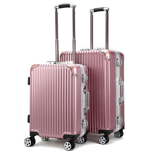 Heavy-duty Aluminum Frame Travel Trolley Bag Zipperless Travel Bag with ABS & PC