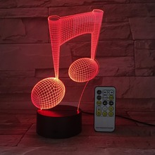 musical note shape Creative 3D illusion Lamp LED Night Lights 3D customize Acrylic Discoloration Colorful Atmosphere Lamp