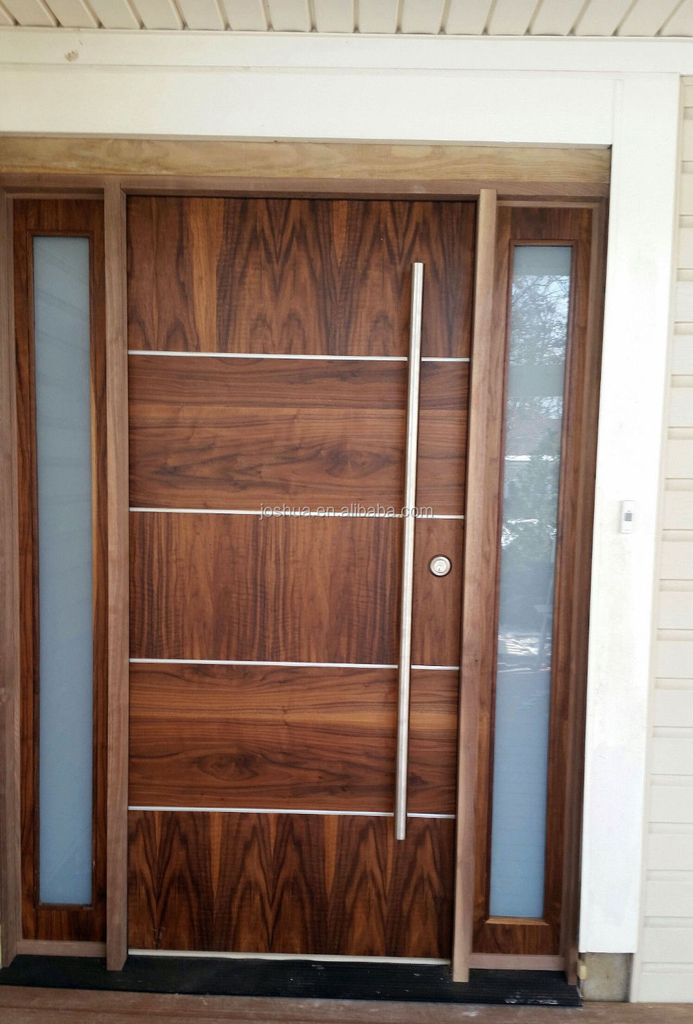 beautiful modern soild wood door walnut front door -exterior door with sidelites