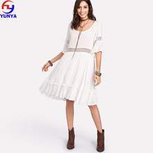2018 new product lady half sleeve beach scoop neck white dress