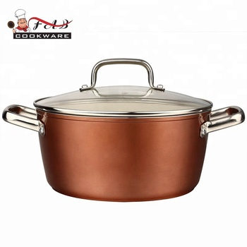 New style ceramic deep aluminum non-stick casserole with  stainless steel double ears