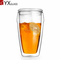 hand made 400ml Double Wall glass cup for beverage