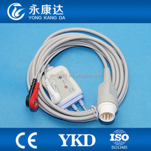 MINDRAY for PM5000, PM6000 T5 T6 T8 ECG cable 3-lead/snap/AHA