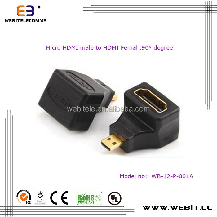 HDMI Right-angled adapter, Micro HDMI Male to HDMI Femal Adaptor,270 degree
