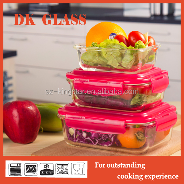 Leakproof tableware glass food container/ lunch box/ glass storage with lock lid airtight
