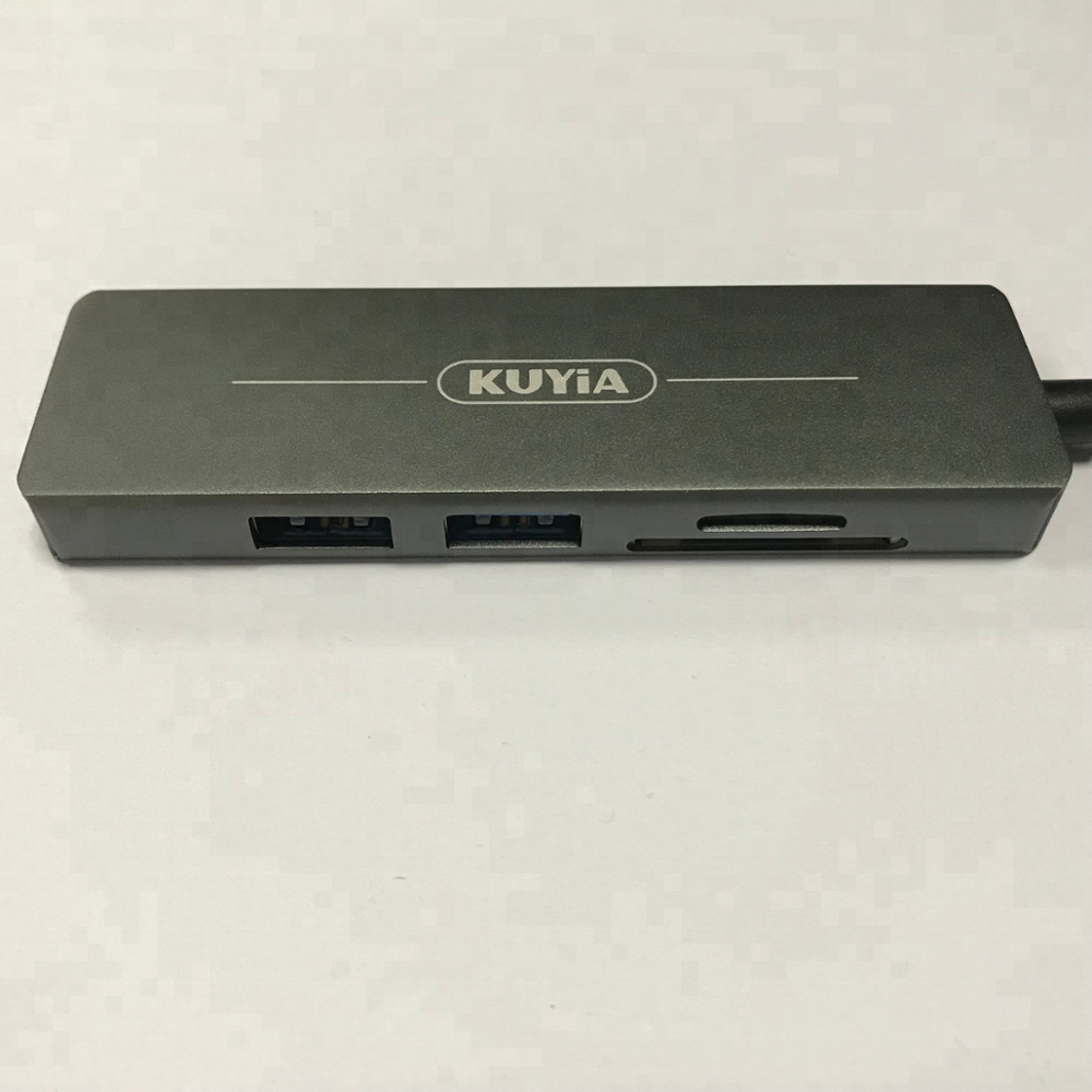 KUYIA USB 3.1 Type C to 4K HD USB 3.0 Hub PD Charging Adapter with TF and SD