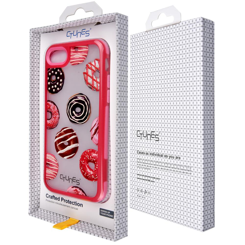 C&T Doughnut Pattern TPU Hybrid Shock Absorbing Clear Back Panel Bumper Custom Phone Cases For Apple iPhone 7