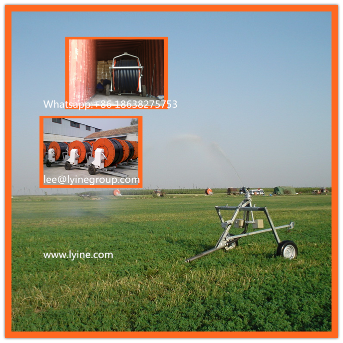 Mobile Farm Sprinkler Hose Reel Irrigation System for small land
