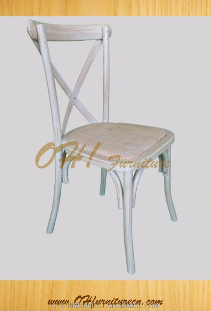 rattan pad seat cross back chairs wholesale X chair manufacture