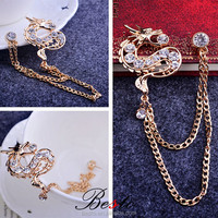 LP0319 Golden dragon metal chain rhinestone lapel pin for clothes