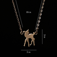 Fashion Zinc Alloy Gold Silver Plated Deer Cute Animal Shape Pendant Charm Necklaces