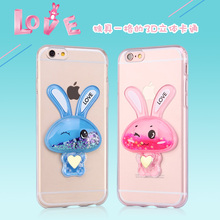 3D rabbit fashionable Quicksand mobile phone cover for iphone 6s Plus liquid glitter case