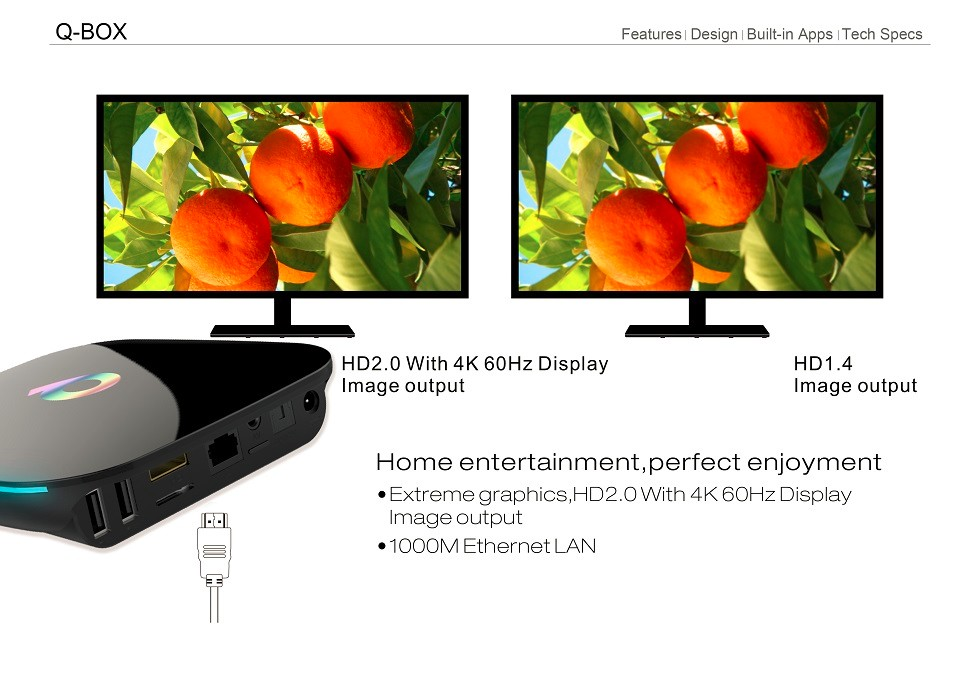 New R&D HD 1080p Q-Box Android 5.1 Amlogic S905 2GB 16GB Gigabit Support Kodi 16.0 High Quality