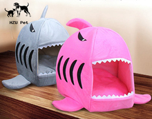 Cat Cave Shark Pet House with Removable Cushion Mat Decorative funny Puppy Dog Warm Beds